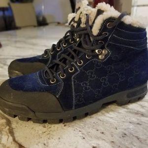 GUCCI Denim Blue Fur Lined Men's High Top Sneakers